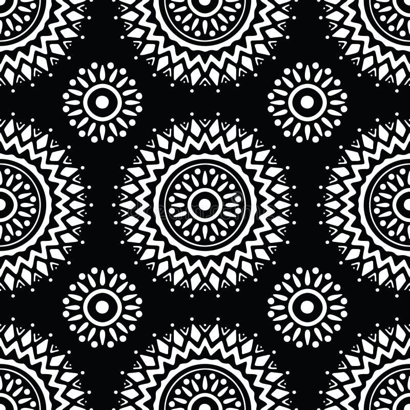 Naadloos zwart-wit mandalapatroon royalty-vrije illustratie
