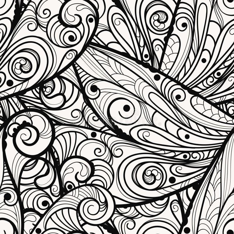 naadloos zwart-wit patroon stock illustratie