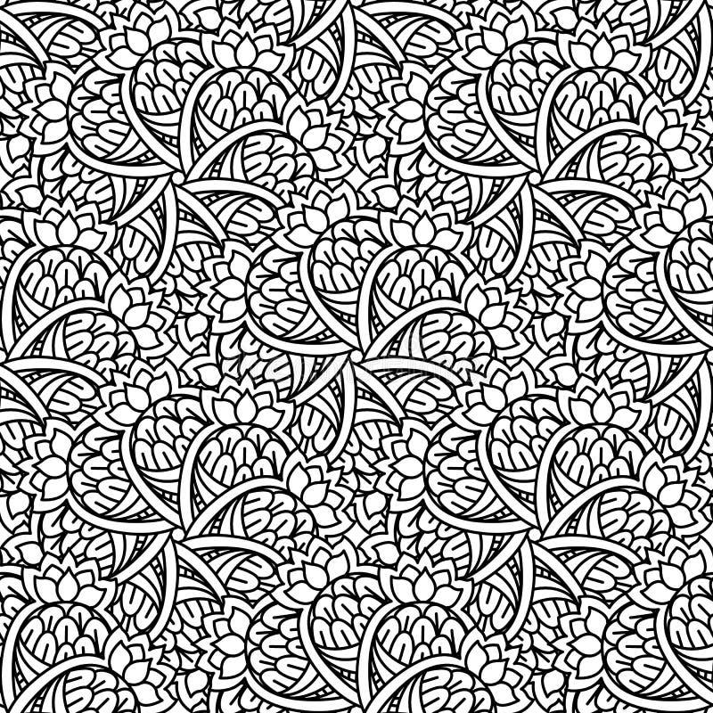 Naadloos zwart-wit patroon vector illustratie