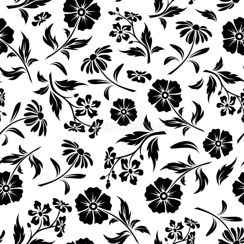 Naadloos zwart-wit patroon met bloemen Vector illustratie royalty-vrije illustratie