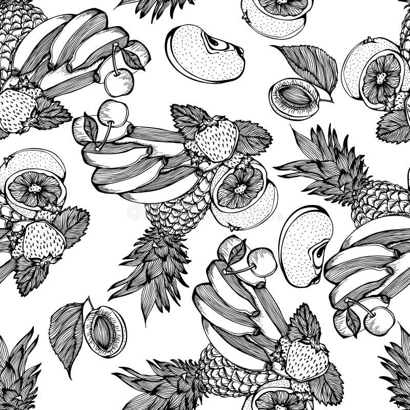 Naadloos zwart-wit patroon met fruitmengeling vector illustratie