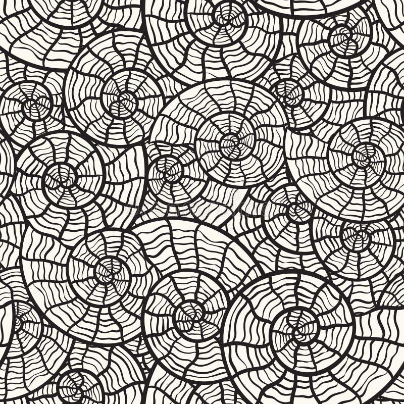 naadloos zwart-wit patroon met overzeese shells stock illustratie