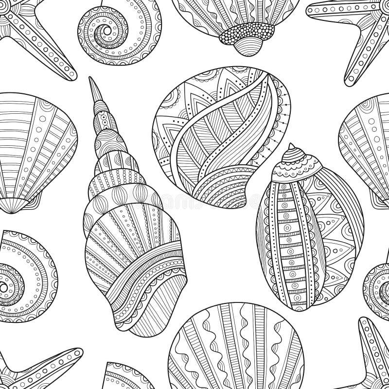 Naadloos zwart-wit patroon van zeeschelpen aan het kleuren van boek royalty-vrije illustratie