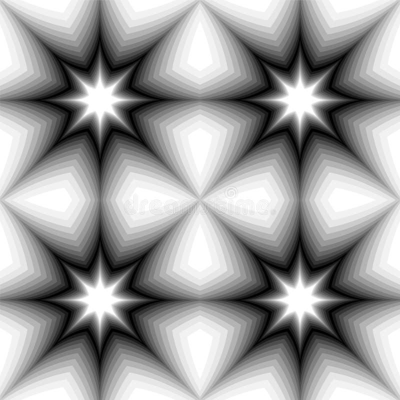 Naadloos Zwart-wit Sterrenpatroon die van Dark aan Lichte Tonen gloeien Visueel Volumeeffect Veelhoekige Geometrische Abstracte A vector illustratie