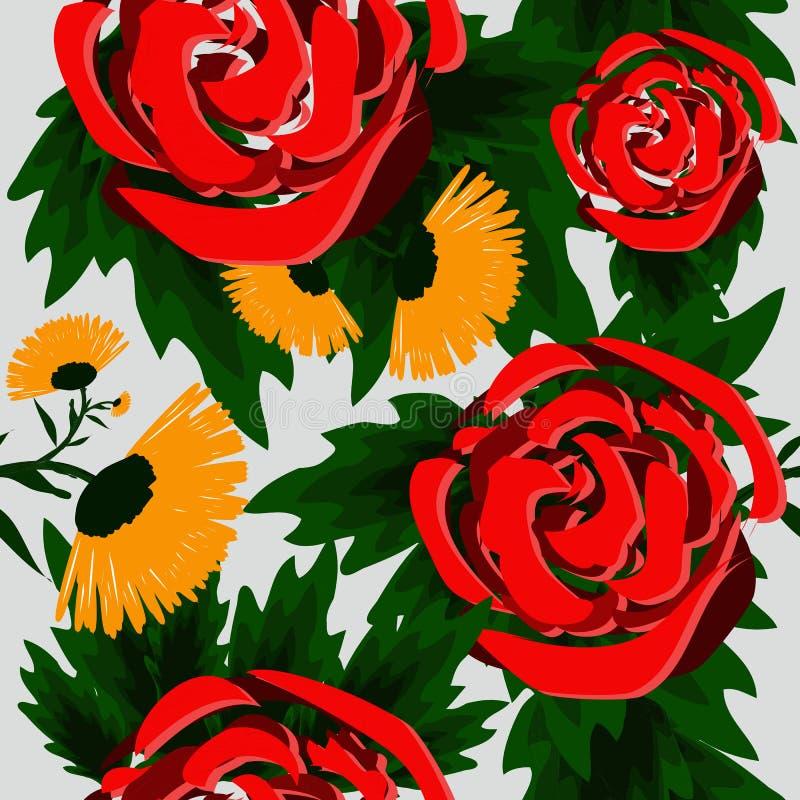 Naadloze abstracte achtergrond met mooie rozen vector illustratie