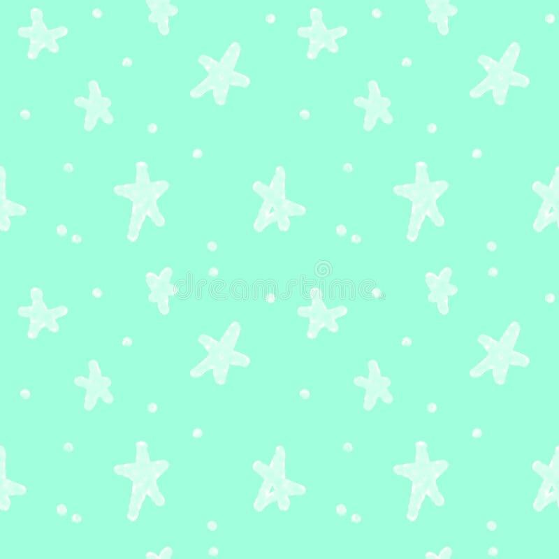 Naadloze abstracte blauwe achtergrond Hemel, overzees, sterren Ontwerp voor behang, textiel, stoffen, kantoorbehoeften royalty-vrije illustratie