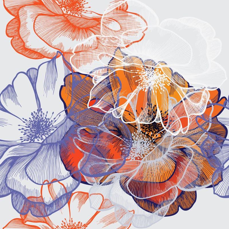 Naadloze abstracte bloemenachtergrond met rozen, Ha royalty-vrije illustratie