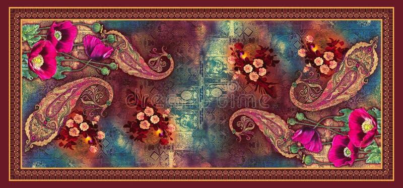 Naadloze abstracte digitale achtergrondtulpenbloem met mooi Paisley stock illustratie