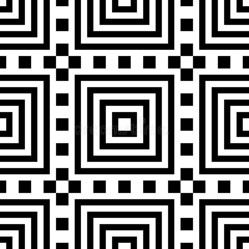 Naadloze abstracte geometrische de kleuren vectorillustratie van patroon zwarte witte vierkanten royalty-vrije illustratie
