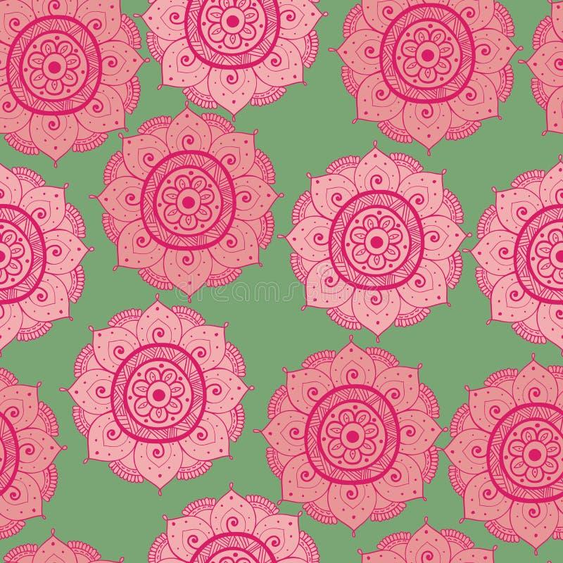 Naadloze abstracte hand-drawn oosters doddlepatroon, roze, rode en groene kleur vector illustratie