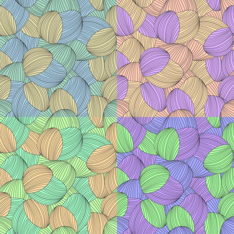 Naadloze abstracte hand-drawn patroonreeks, golvenachtergrond stock illustratie