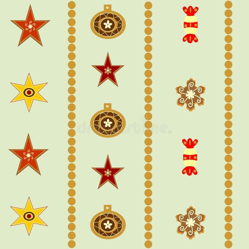 Naadloze abstracte Kerstmisachtergrond met sterren en ballenillustratie royalty-vrije illustratie