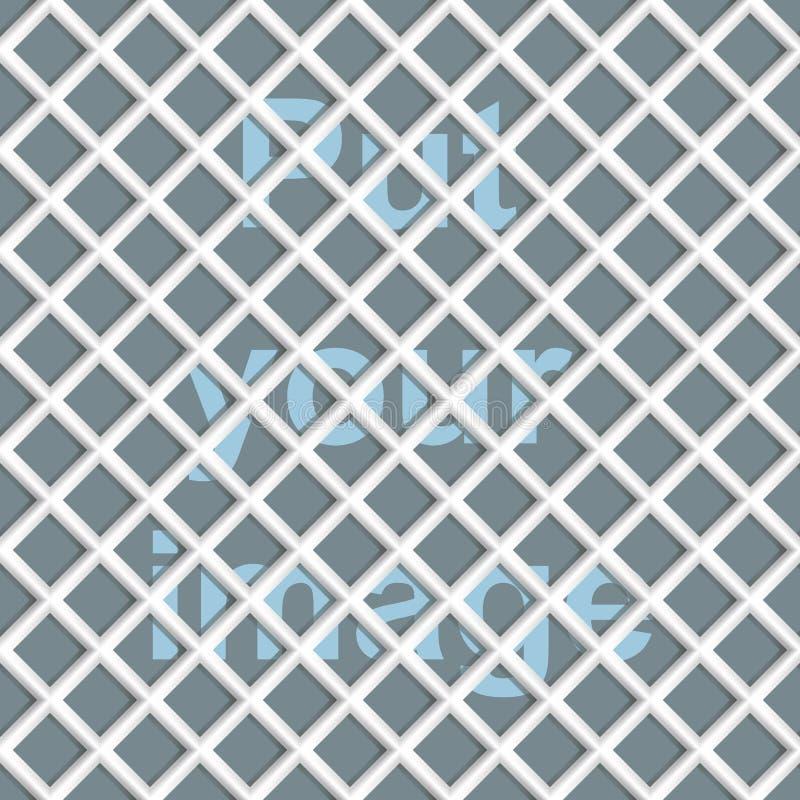 Naadloze abstracte netwerk (net) achtergrond - ruit Kleuren witte ceramisch met schaduwen stock illustratie
