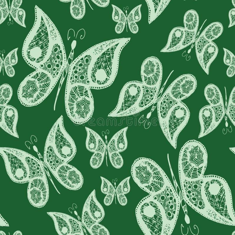 Naadloze abstracte patroonachtergrond met vliegende hand getrokken vlinders Vector illustratie Ontwerp voor textiel of vector illustratie