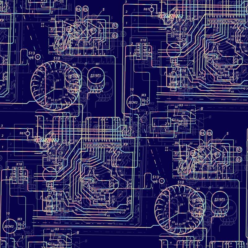 Naadloze abstracte patroontechnologie Lichtgevende elektrische kring op een donkerblauwe achtergrond vector illustratie