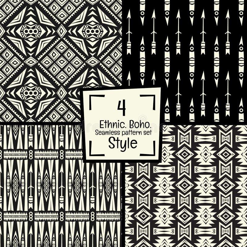 Naadloze abstracte vectorpatroontextuur op zwart-witte achtergrond stock illustratie