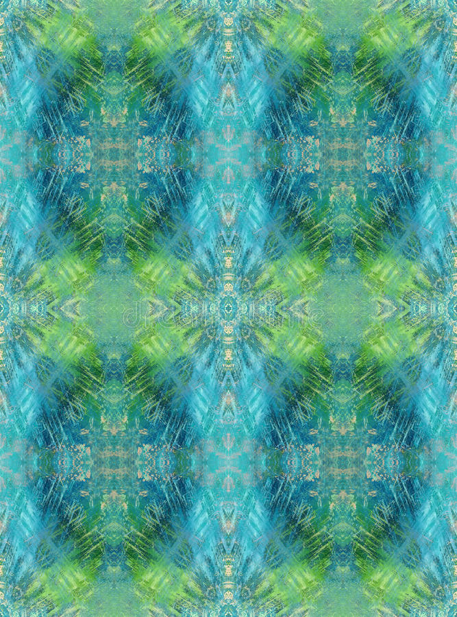 Naadloze Achtergrond Abstract grunge geometrisch patroon Blauw en lichtgroen stock illustratie