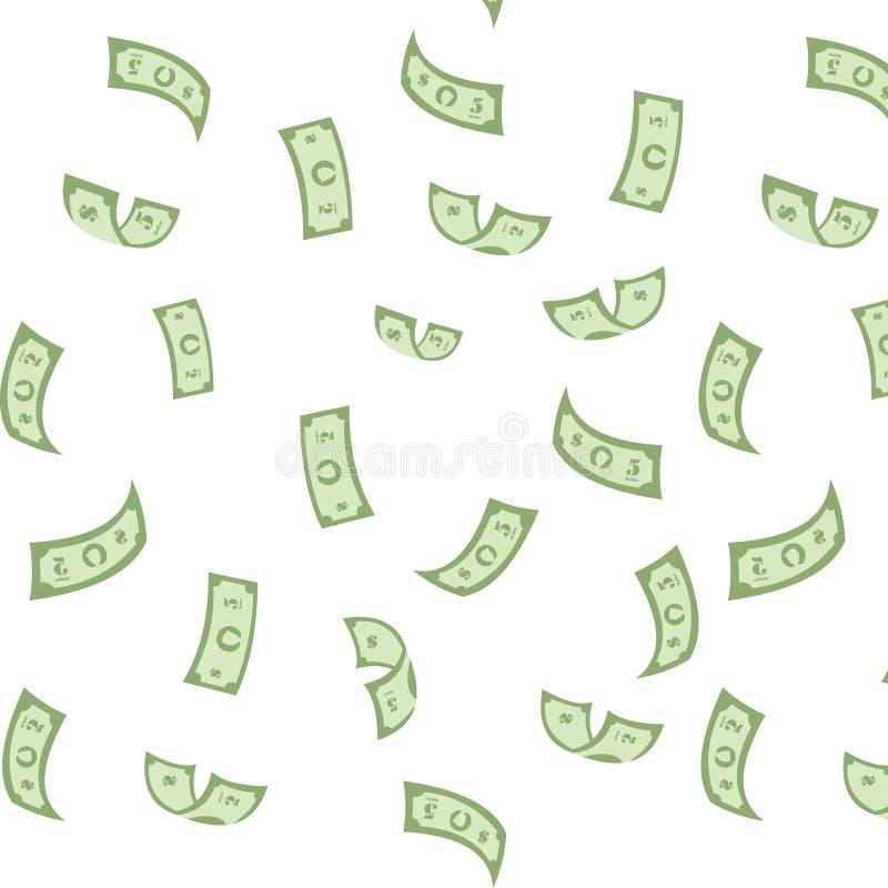 Naadloze Achtergrond De dollars vallen van de hemel geluk Plotselinge Rijkdom royalty-vrije illustratie