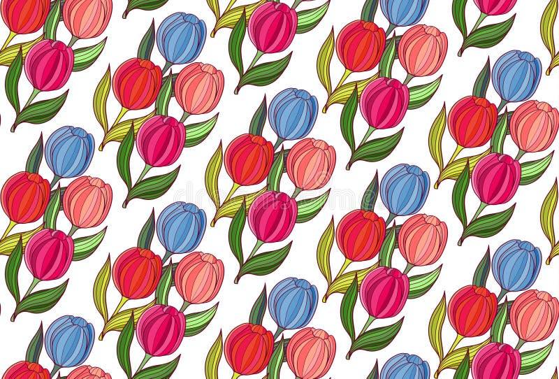 Naadloze achtergrond de lentebloemen van tulpen stock afbeeldingen