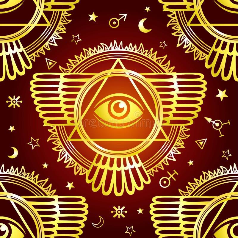 Naadloze achtergrond: Gevleugelde piramide, alle-ziet oog Ruimtesymbolen stock illustratie