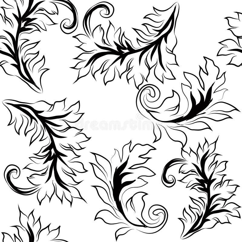 Naadloze achtergrond met abstracte bloemen zwart-wit vector illustratie