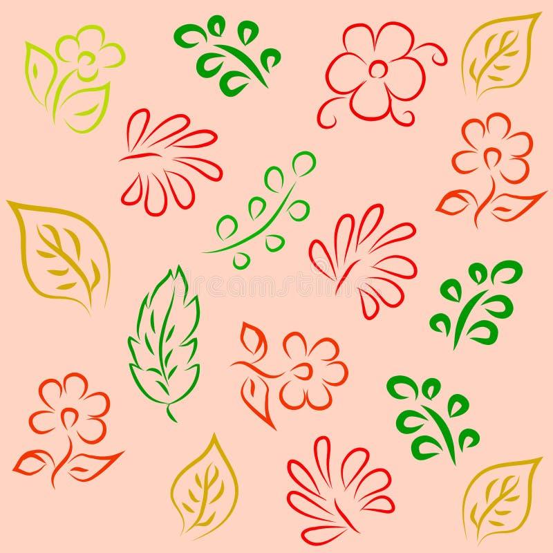 Naadloze achtergrond met abstracte flowers1 royalty-vrije illustratie