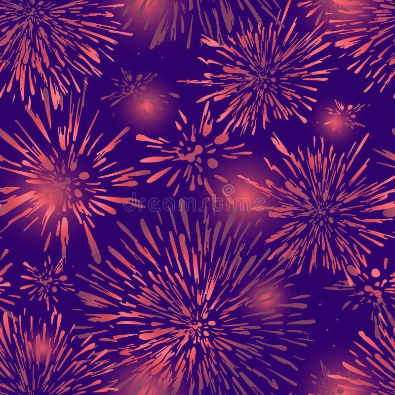 Naadloze achtergrond met abstracte vlekken Het kleurrijke feestelijke ontwerp van het vuurwerk naadloze patroon Een nieuwe textuu stock illustratie