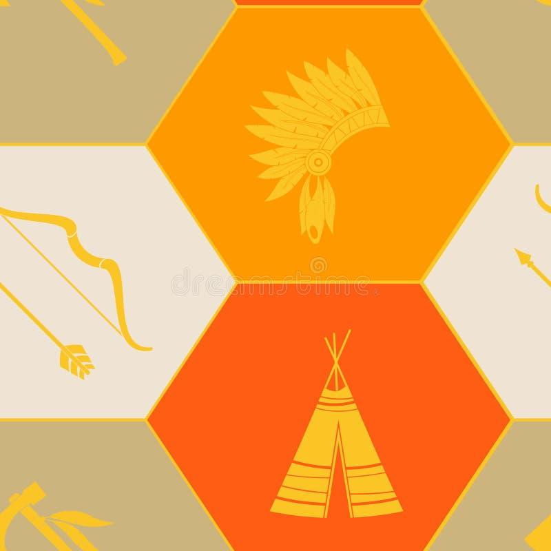Naadloze achtergrond met Amerikaanse Indische pictogrammen royalty-vrije illustratie