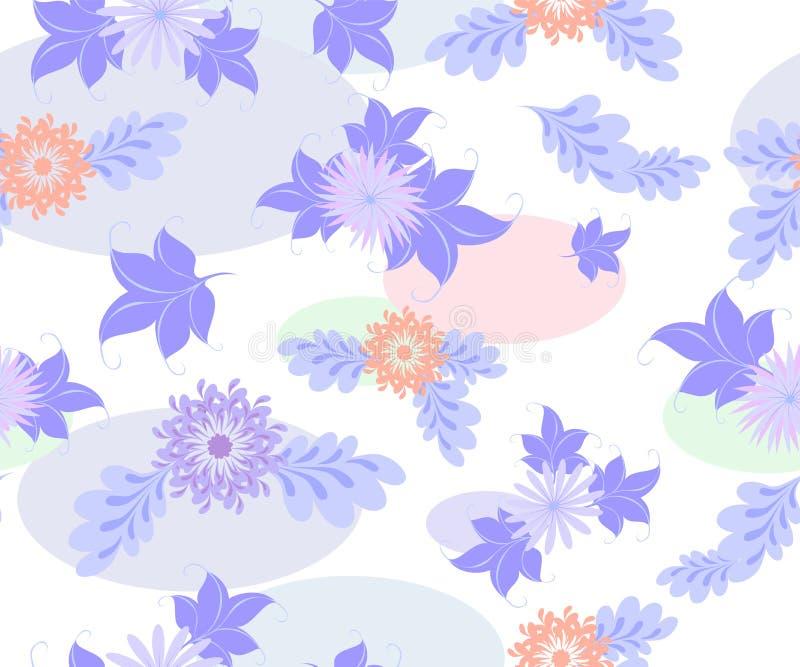 Naadloze achtergrond met blauwe bloemen en ellipsen op een eenvormige witte achtergrond EPS10 vectorillustratie vector illustratie