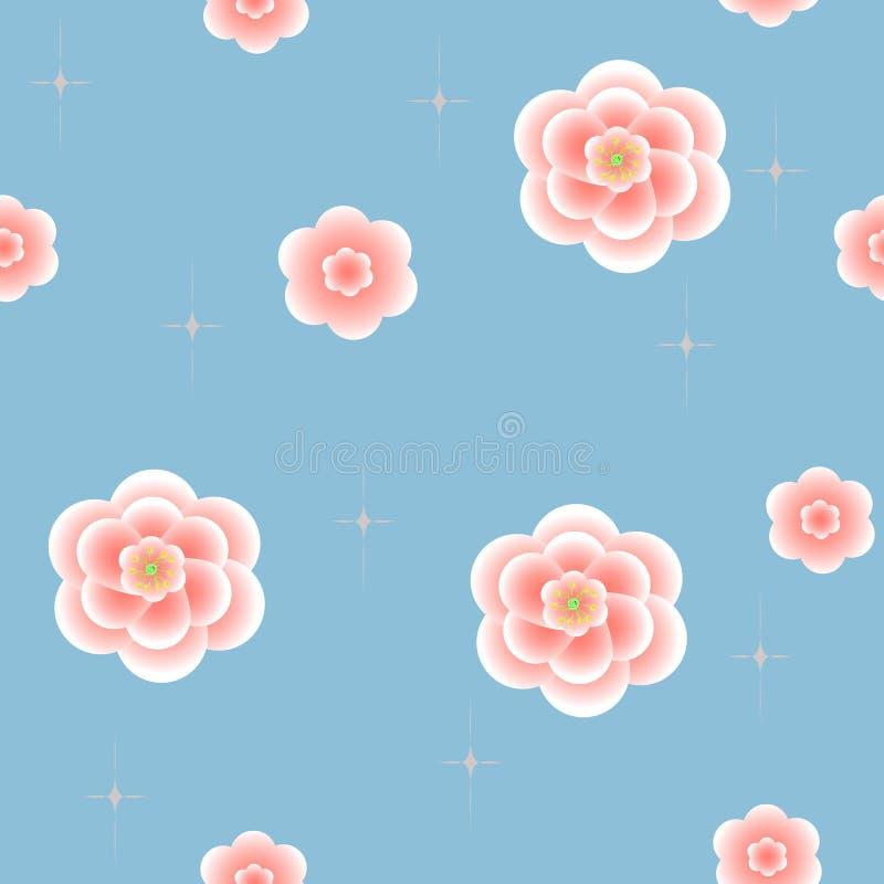 Naadloze achtergrond met bloemen royalty-vrije illustratie