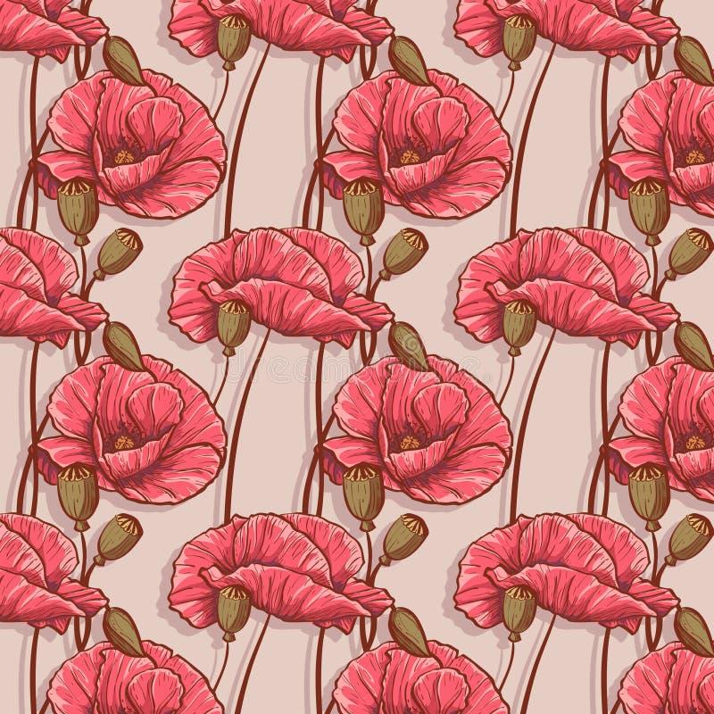 Naadloze achtergrond met bloemenpapavers vector illustratie