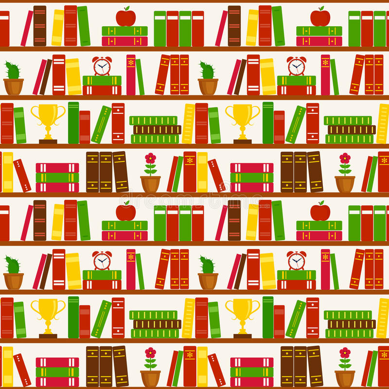 Naadloze achtergrond met boekenrekken Vector patroon royalty-vrije illustratie