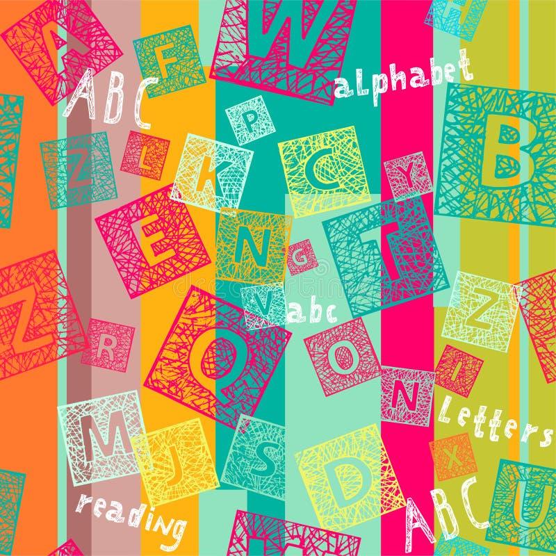 Naadloze achtergrond met brieven en lijnen vector illustratie