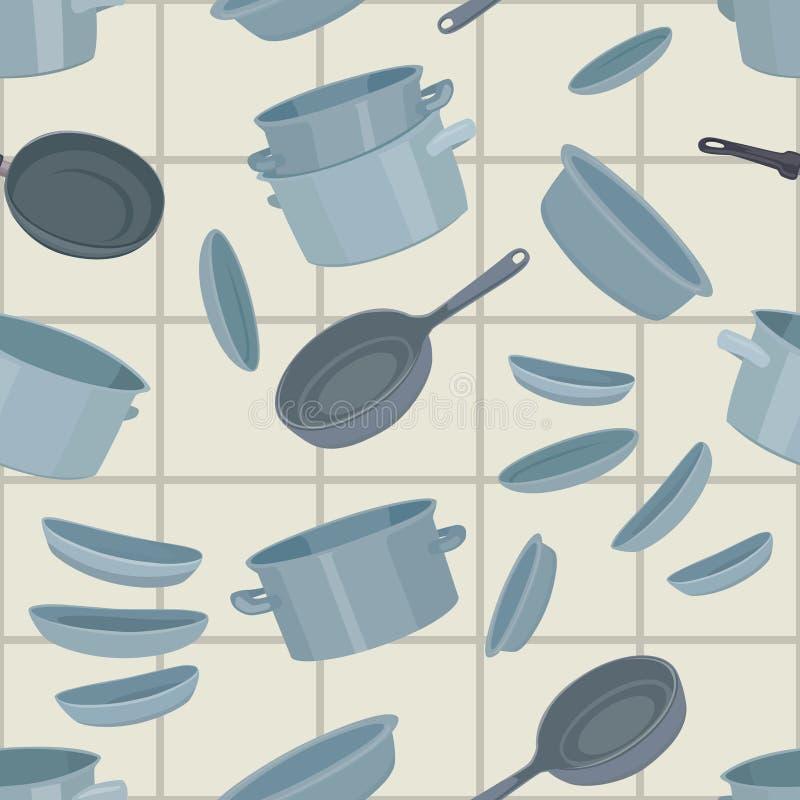 Naadloze achtergrond met cookware stock illustratie