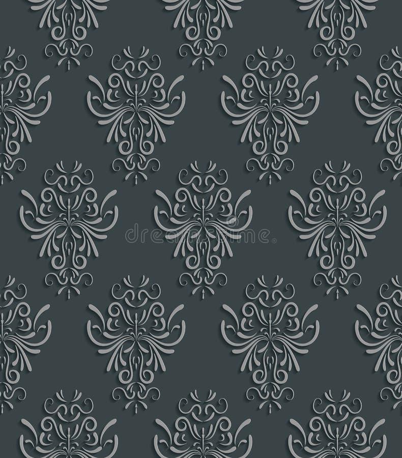 Naadloze Achtergrond met 3d Bloemenpatroon stock illustratie