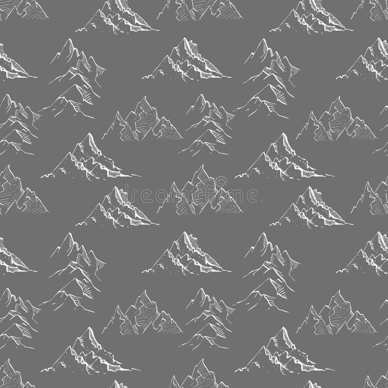 Naadloze achtergrond met de bergen van de krabbelschets op zwarte Kan voor behang worden gebruikt, vult het patroon, textiel, Web royalty-vrije illustratie