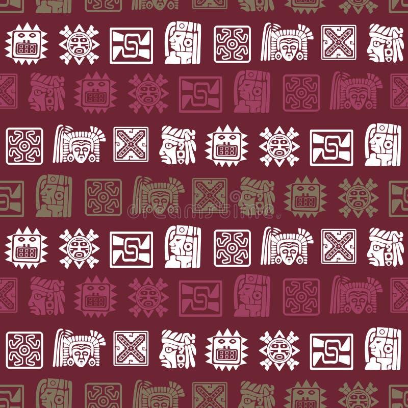 Naadloze achtergrond met de domorenkarakters van Indianenoverblijfselen vector illustratie