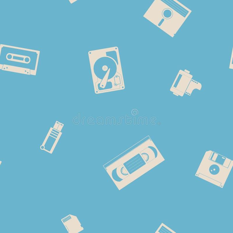 Naadloze achtergrond met de pictogrammen van de gegevensopslag royalty-vrije illustratie