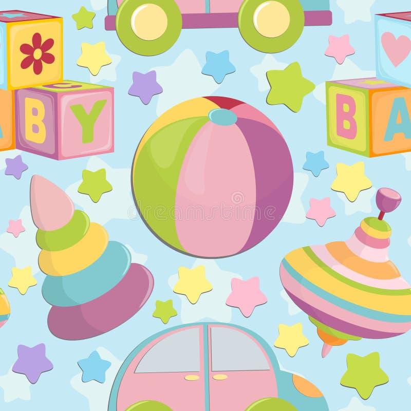Naadloze achtergrond met de voorwerpen van de baby vector illustratie