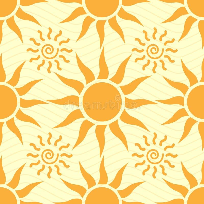 Naadloze achtergrond met de zon royalty-vrije illustratie
