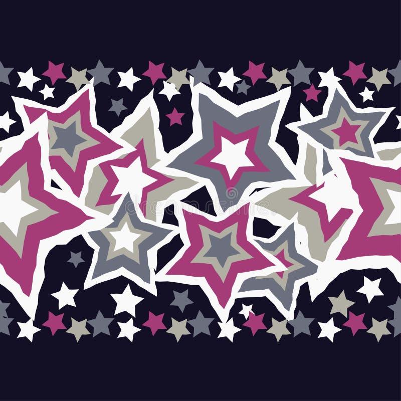 Naadloze achtergrond met decoratieve sterren Naadloze grens stock illustratie