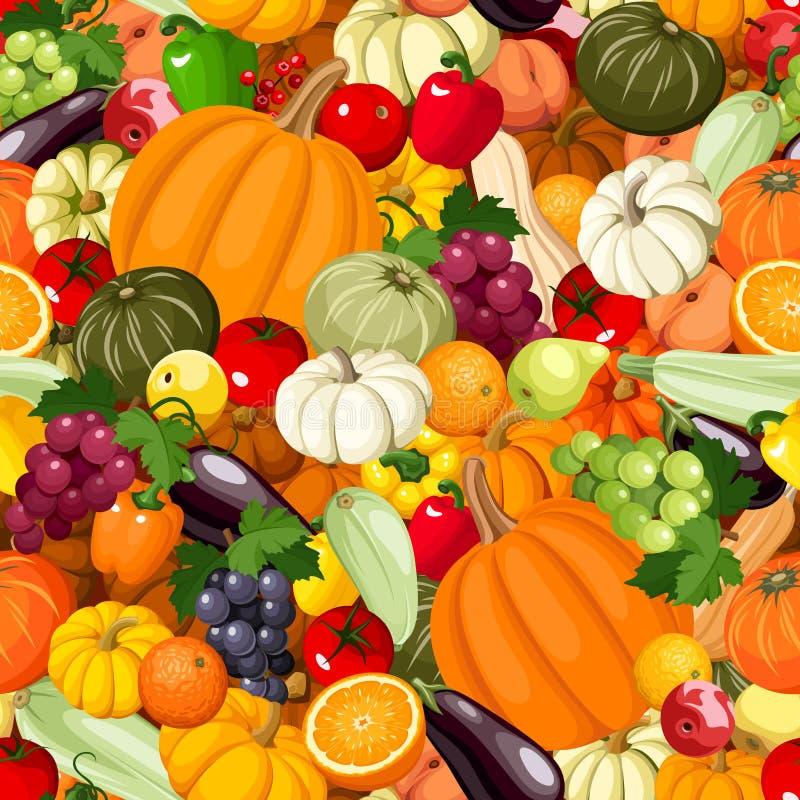 Naadloze achtergrond met diverse groenten en vruchten Vector illustratie royalty-vrije illustratie