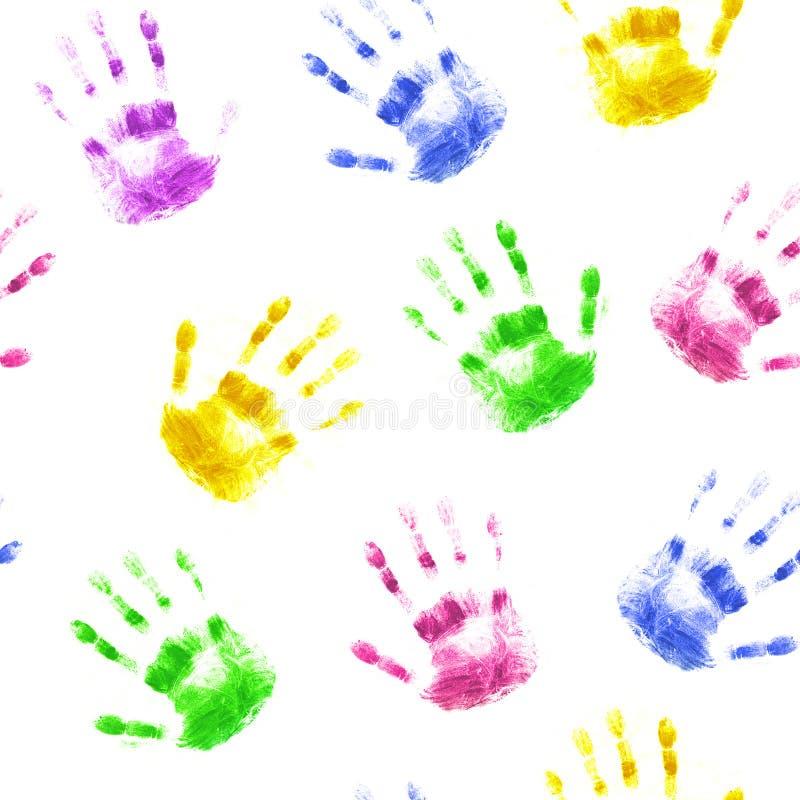Naadloze achtergrond met drukken van menselijke handen royalty-vrije illustratie