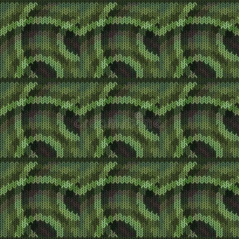 Naadloze achtergrond met een gebreide textuur, imitatie van wol Een verscheidenheid van verschillende patronen stock illustratie