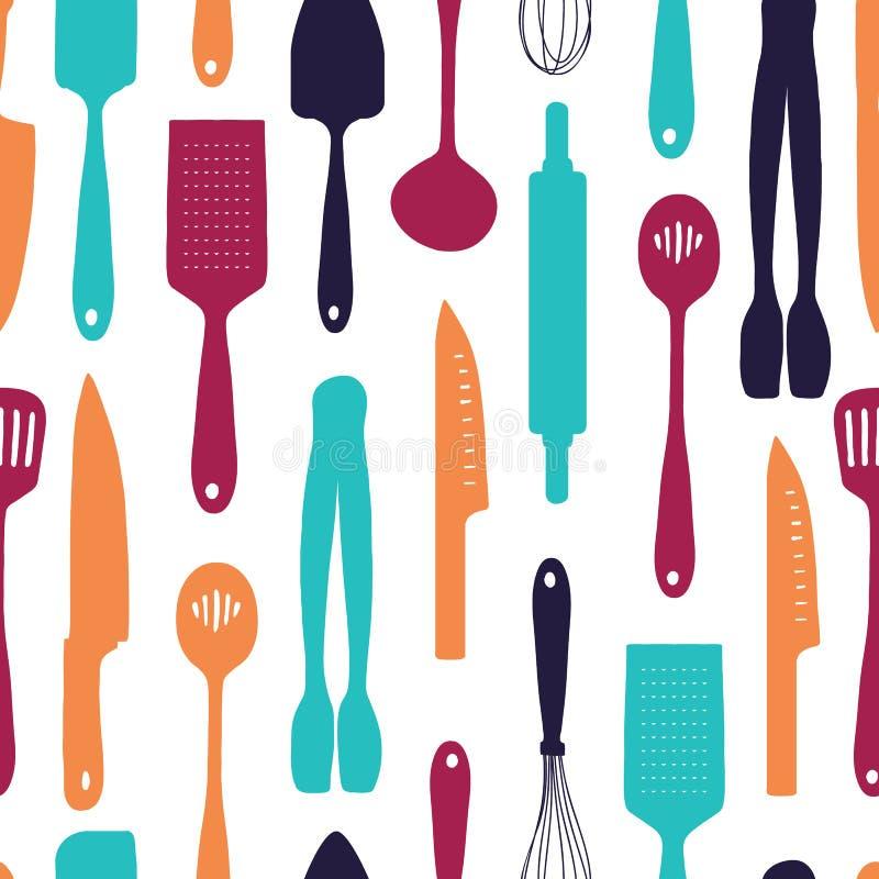 Naadloze achtergrond met een patroon van silhouetbestek Verticaal patroon van gekleurd bestek Achtergrond met keuken stock illustratie