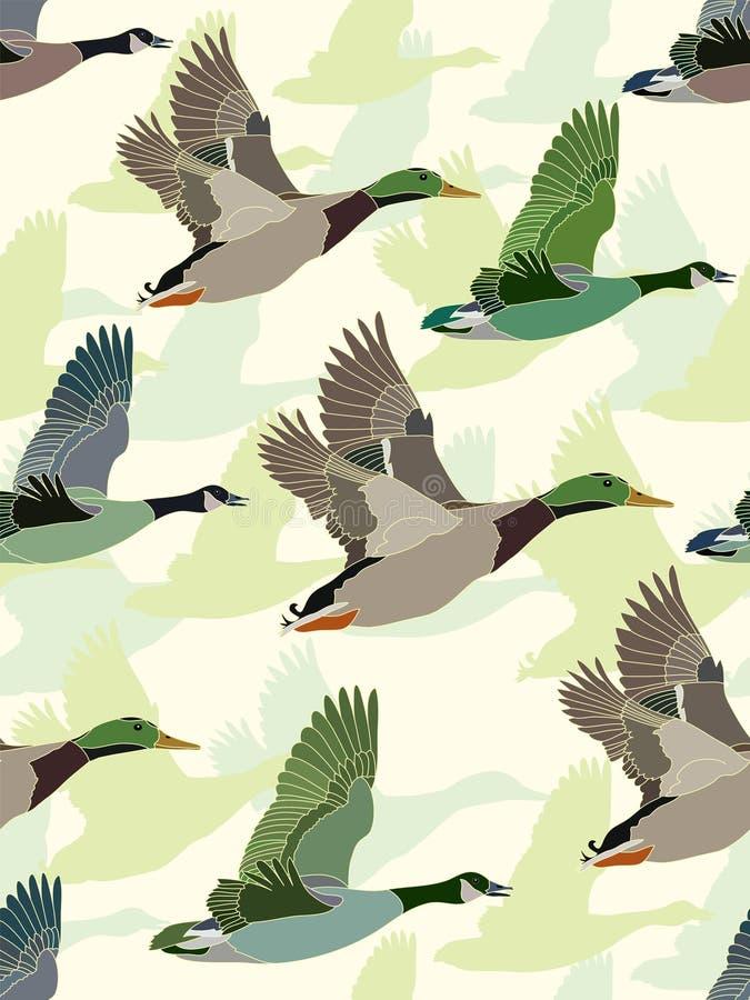 Naadloze achtergrond met ganzen en eenden royalty-vrije illustratie