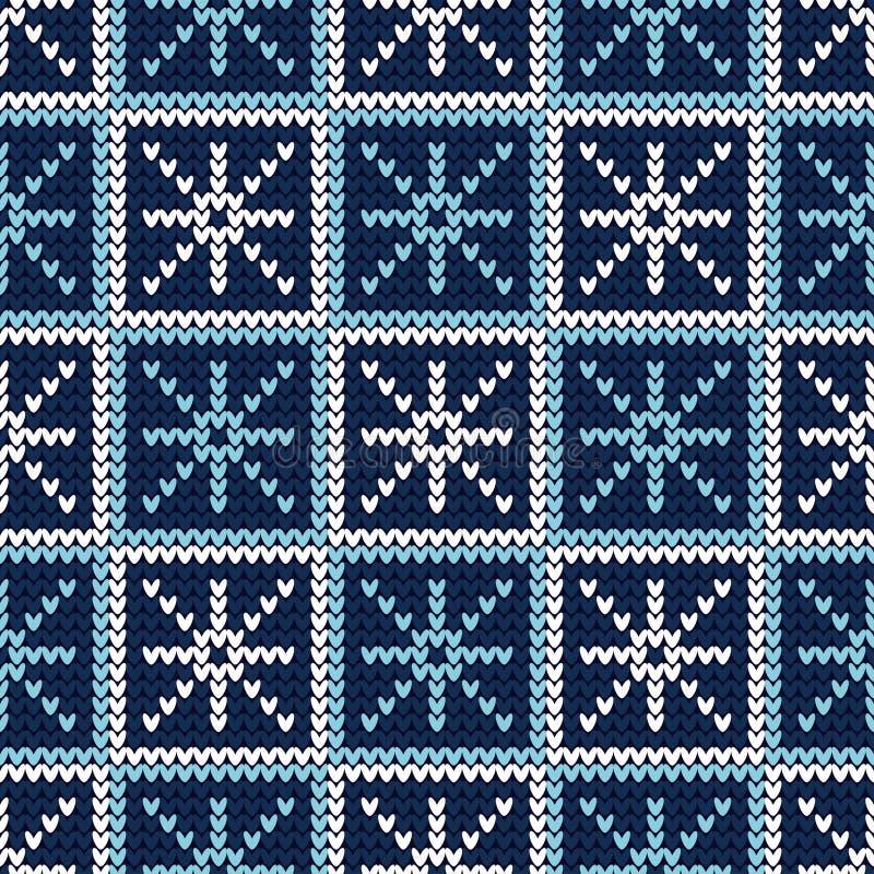 Naadloze achtergrond met Gebreide decoratieve sneeuwvlokken Gebreid patroon Vrolijke Kerstmis en Gelukkig Nieuwjaar! De gelukkige royalty-vrije illustratie