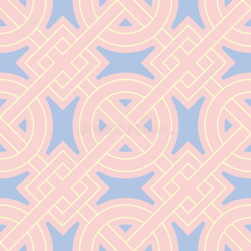 Naadloze achtergrond met gekleurd geometrisch patroon Roze, blauwe en beige elementen stock illustratie