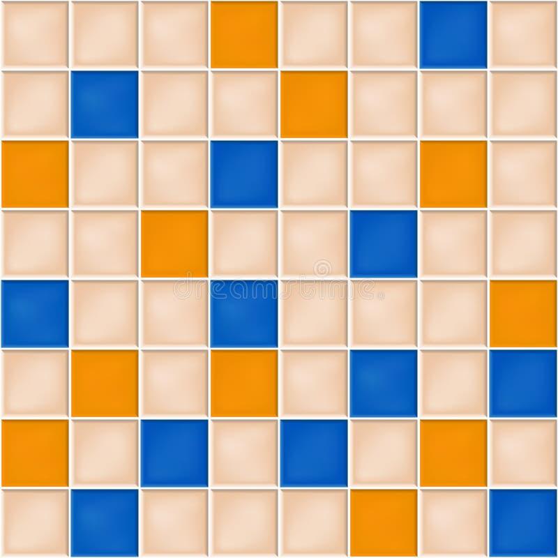 Naadloze achtergrond met gele, blauwe en beige mozaïektegels vector illustratie