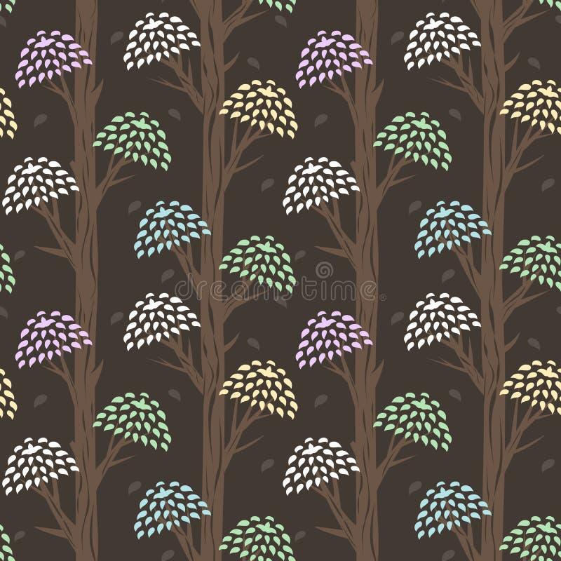 Naadloze achtergrond met gestileerde bochtige bomen en heldere kronen van bladeren royalty-vrije illustratie